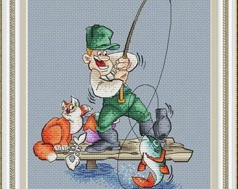 Cross Stitch Pattern PDF Instant Download Embroidery Cute Wall Decor Nursery Cross Stitch Cross Stitch cat fishing fish