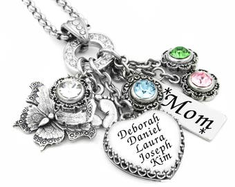 Mothers Necklace, Engraved Necklace, Heart Necklace, Mommy Jewelry, Birthstone Necklace, Mothers Jewelry