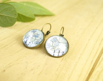 Floral watercolor lever back earrings, vintage glass dome earrings