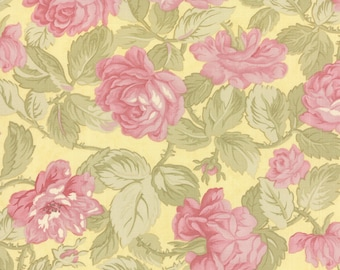 Quilting Cotton fabric | 3 Sisters FAV | Pink Buttercup Lemon Yellow 3725 14
