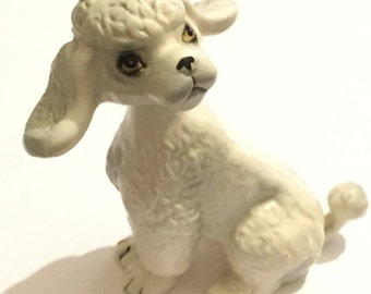 Kitsch 1950s Poodle, White Ceramic Nodding Dog, Vintage Mid Century