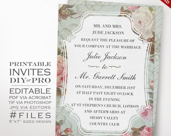 Wedding Invitation Template - Vintage Rose Wedding Invitation - Printable DIY French Country Wedding Invitation Editable Wedding Invite