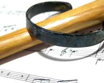 ON SALE Brass Oxidized Cuff Blue Bracelet Bohemian Bracelet gift for her gift for him boho chic cuff handmade rough cuff fashion cuff