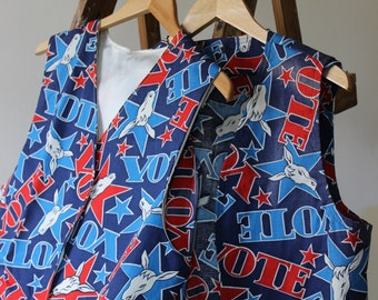 Vintage Election Vests Vote Democrat Democratic Election Gear Caucus Clothing Red White and Blue Donkey Election Party Clothing Costume