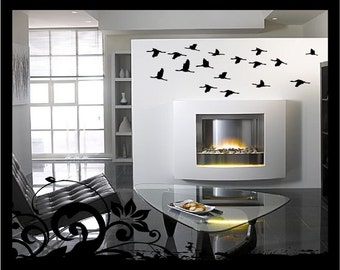 SALE - Cranes in Flight - Vinyl Decal (set of 17 birds)