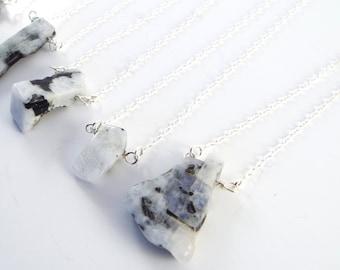 Raw Moonstone Captive Stone  Necklace (1 Necklace)