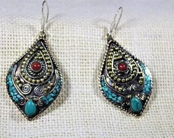 Tibetan silver earrings, dangle earrings, turquoise earrings, drop earrings, oversized earrings, coral earrings