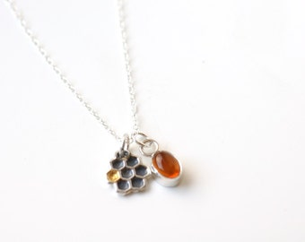 Honeycomb necklace with amber charm, charm necklace, small pendant sterling silver, beekeepers gift, honeycomb jewelry, minimalist necklace