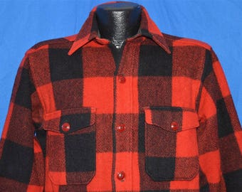 60s Woolrich Plaid Wool Hunting Jacket shirt Medium