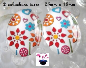 2 cabochons glass 25mm x 18mm theme little birds in the Meadow
