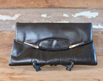 1980s black clutch | leather oversized envelope purse