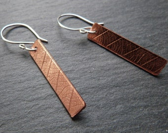 Textured copper linear earrings with silver earwires - leaf imprint - mixed metal earrings - minimalist - gift for her - uk