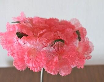 Vintage Pink Silk Chiffon Floral Mesh Pillbox Hat / Summer Floral Pillbox Hat / Floral Pillbox Hat  / Chiffon Floral Pillbox Hat