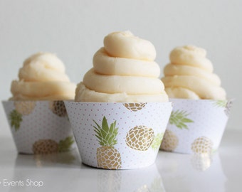Tropical Gold Pineapple Cupcake Wrappers, Gold Cupcake Wrappers, Pineapple Cupcake Wrappers, Pineapple Party- Set Of 6,12,16,24+