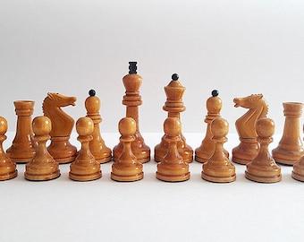 Soviet Tournament Chessmen, Vintage russian tournament chess pieces, Chess figures USSR, Wooden weighted chessmen set