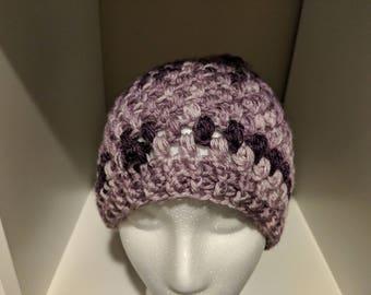 Blossom - messy bun beanie = pony tail hat = lavender/purple puff