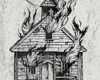Silkscreen Church on fire / crackhouse / love sex machine