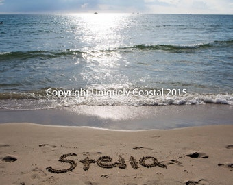 Name in Sand, Baby Girl Gift, Personalized Artwork, Beach, Nursery Decor - Stella