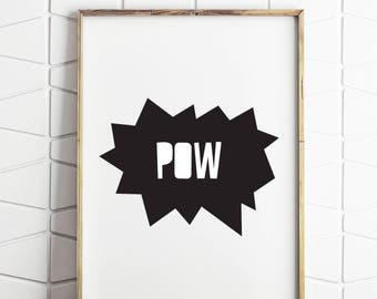 comic art, pow decor, pow art, comic pow, instant download, comic wall print, comic decor, pow decor, digital decor