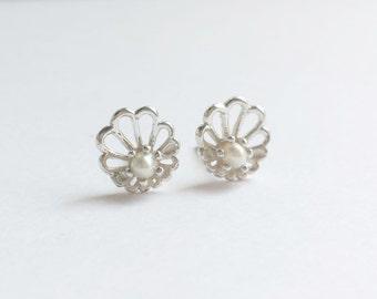 Sterling Silver Abalone Stud Earrings. Delicate Stud Earrings. Unique Wedding Stud Earrings. Contemporary Stud Earrings.