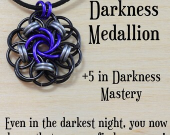 Darkness Medallion | help a friend fight depression | grief | chainmail pendant | LARP costume |dongeons and dragons | Magic the Gathering