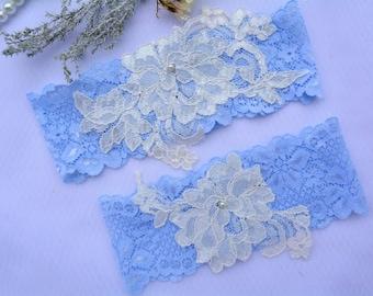 Blue Garter, Bridal Garter, Wedding Garter Set, Bridal Garter Set, Garter Set, Wedding Clothing, Lace Garter, Wedding Gift, Blue Bridal Gift