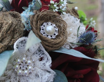 Burgundy and Dusty Blue Boho Bridal Bouquet with Burlap ,lace, Sea holly and Pearl Rhinestone Bling-Ready To Ship Bouquet