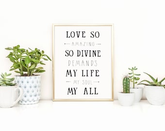 Love So Amazing Lyrics Art Print, Hand Lettered Decor, Hymn Art Work, Hand Lettered Art Print
