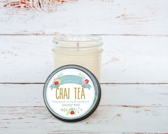 Chai Tea Soy Wax Candle in 8 oz. Jelly Jar - Fall Candle for Home, Gift, Housewarming, Hostess, Birthday, Present