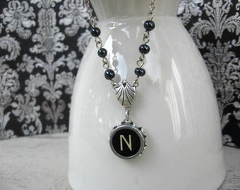 Typewriter Key Necklace - Beaded Beauty - Letter N