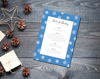 Winter Snowflake Menu Wedding Party Romantic Christmas Blue New Years Eve - Large Snowflakes