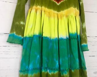 Girls Size 8 Heart Tie Dye Tiered Ruffle Dress