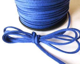 1 m x 3mm Royal Blue cord suede