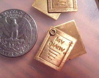 SALE- 4 Vintage Movable Brass Diary Charms