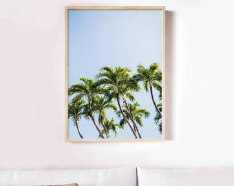 Palm Trees Photography, Palm Tree Print, Blue sky, Tropical Beach, Tropical Print, Trees Poster, Home Decor, Instant Download