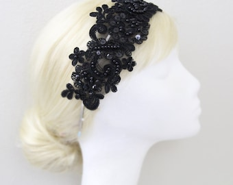 Black  Beading Lace Headband , Bridal Black Headband, Bridemaid Black Lace Headband, Black Lace Headband