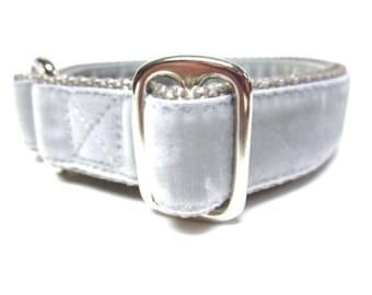 "Houndstown 1"" Silver Velvet Tag Collar, Adjustable"