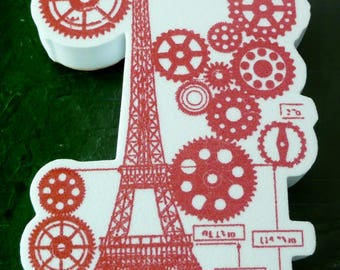 Ink pad foam Paris: 8 Eiffel Tower, 3cmx6cm