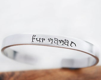 Cat Lady Gift - Cat Fur Mama - Graduation Gift for College Girls - Hand Stamped Cuff Bracelet