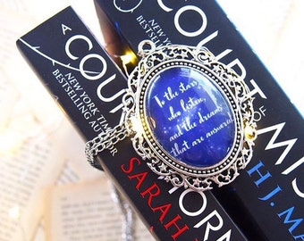 """A Court of Mist and Fury - """"To the stars who listen and the dreams that are answered"""" necklace- night court - rhysand - acomaf -bookish gift"""