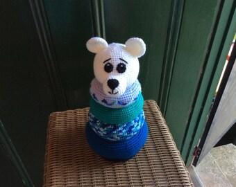 Baby shower Polar Bear Ring Stacker, Crochet