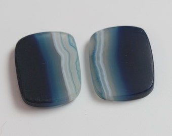 Blue stained agate pair