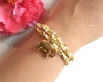 elephant bracelet - lucky elephant charm - braided bracelet - friendship bracelet - women's gift - girls gift - gift for her - jewelry