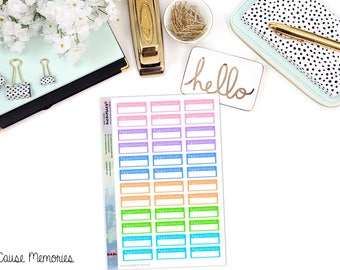 FUNCTIONAL APPOINTMENT BOXES Paper Planner Stickers - Mini Binder Sized/3 Hole Punched