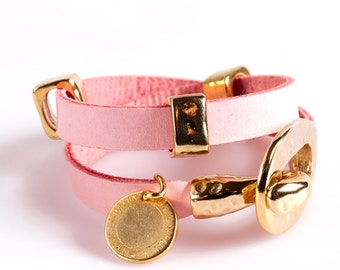 ART34 Think Pink Leather and Gold Bracelet
