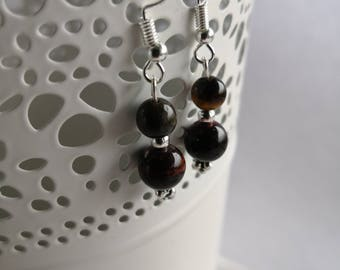 Boho witchy Crystal healing, protection jewelry woman fantaisiewitch silver ball Tiger eye earrings