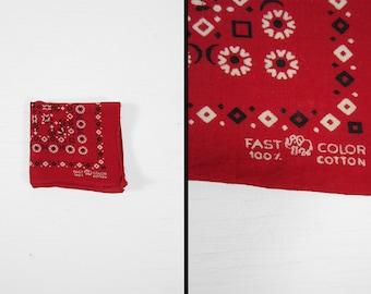 Vintage Elephant Brand Bandana Trunk Up Turkey Red Small Print 1950s Fast Color Handkerchief