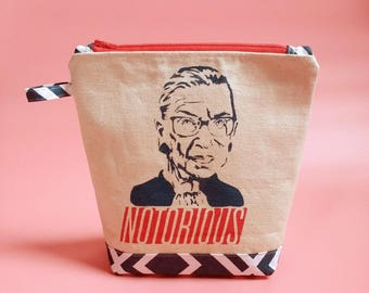Notorious RBG red zipper pouch bag wristlet clutch liberal Ruth Bader Ginsburg Supreme under 25 girlfriend gift her mom gift mother's day