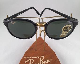 Vintage Ray Ban Bausch And Lomb W1102 Oversized Black Round Sunglasses