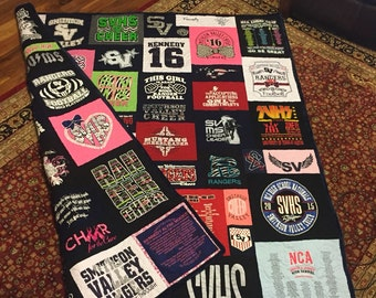T-Shirt Quilt Double sided, Custom Puzzle Design, Memory Quilt Custom Order Quilt You Pick Size - Using Your Shirts-DEPOSIT ONLY